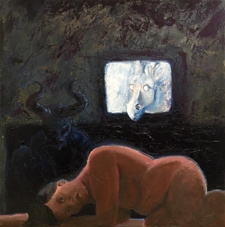 Sober Jockey, oil canvas, 20x20 - jamieluoto | ello