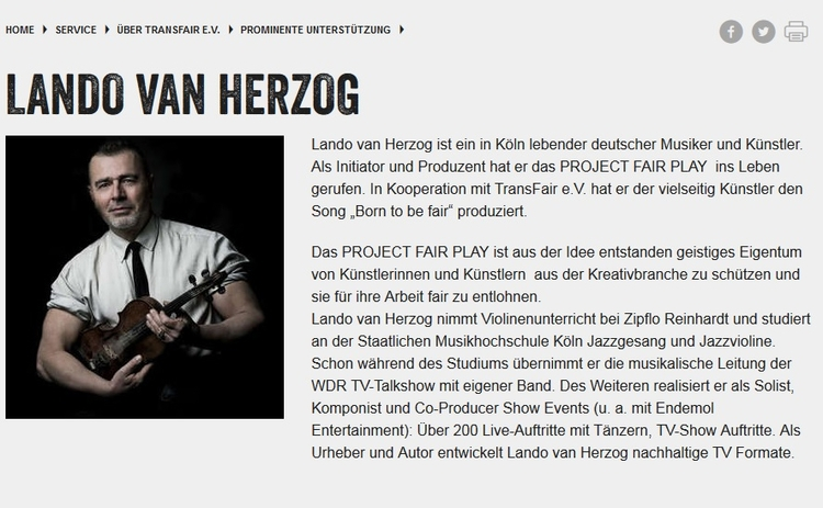 Lando van Herzog bei Fair Trade - projectfairplay | ello