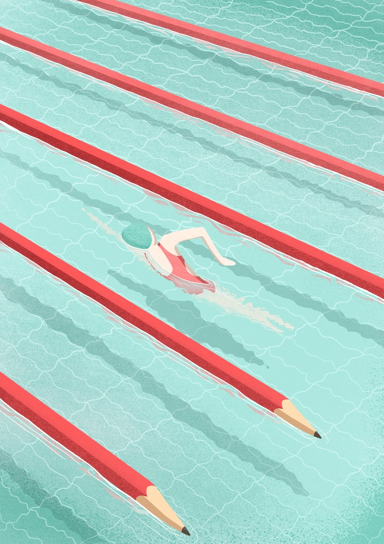 Swimming art, illustration inte - saragironicarnevale | ello