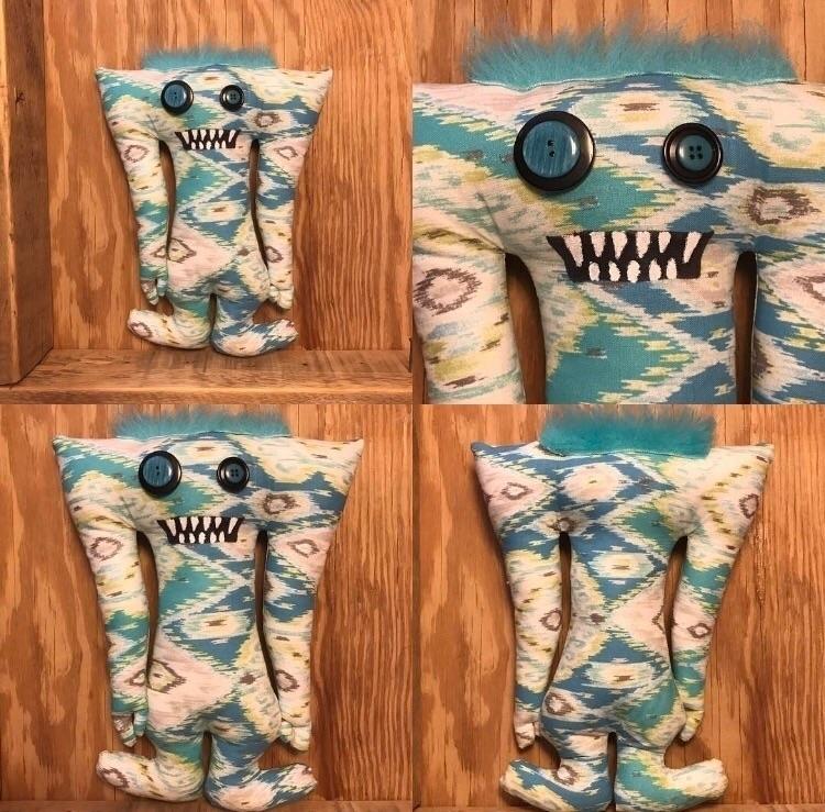 Cyan Aztec Tall Monster  - handmade - tykesanimalkingdom | ello