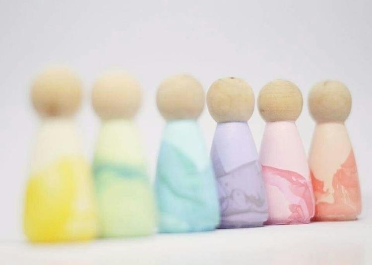 pastel marble peg dolls obsessi - deerandfoxcollective | ello
