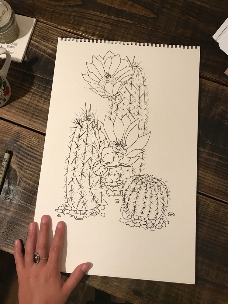 Finished line work - cacti, family - wildflowerramblings | ello