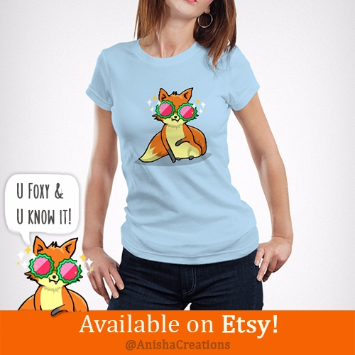 Foxy - cute, tshirts, etsy, funny - anishacreations | ello