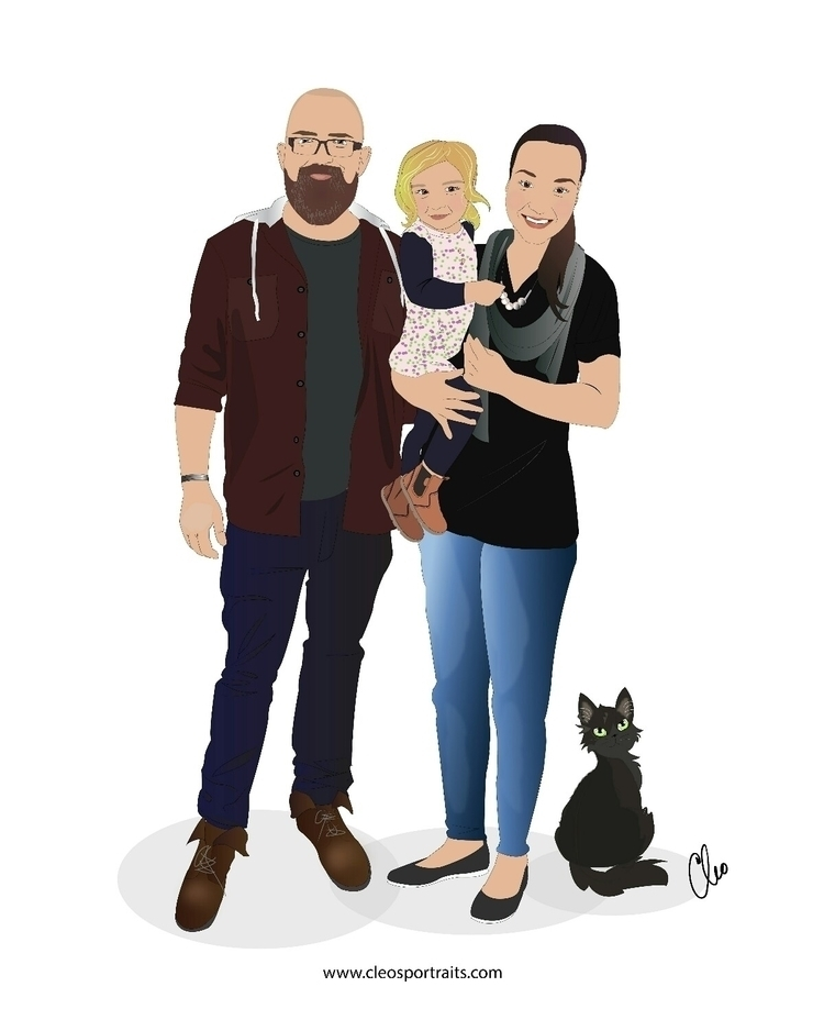 family portrait, custom illustr - cleosportraits | ello