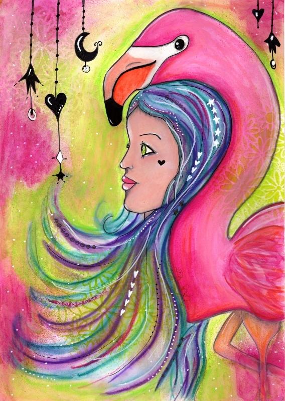Flamingo Rising. Mixed media - janesshoeboxstudio | ello