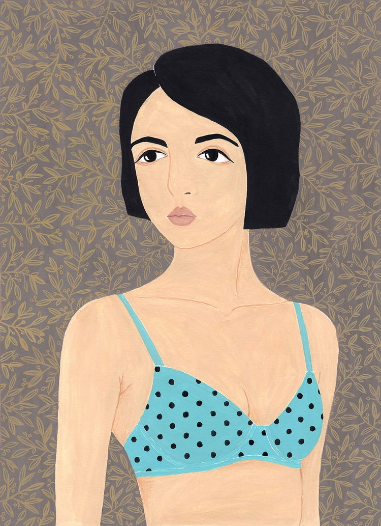Girl polka dot bra - Illustration - sashafishkin   ello