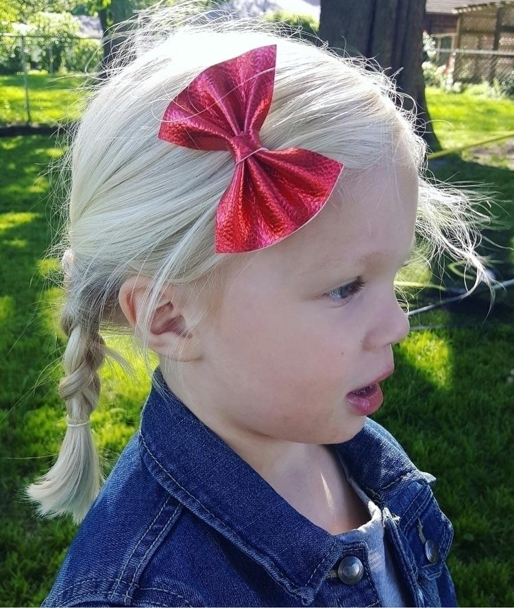 Loving red metallic bow cutie - shophandmade - littlewarriorsapparel   ello