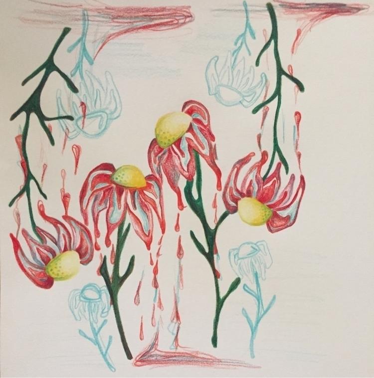 drippy flowers - flowerart, coloredpencilart - artbykaylabraden | ello