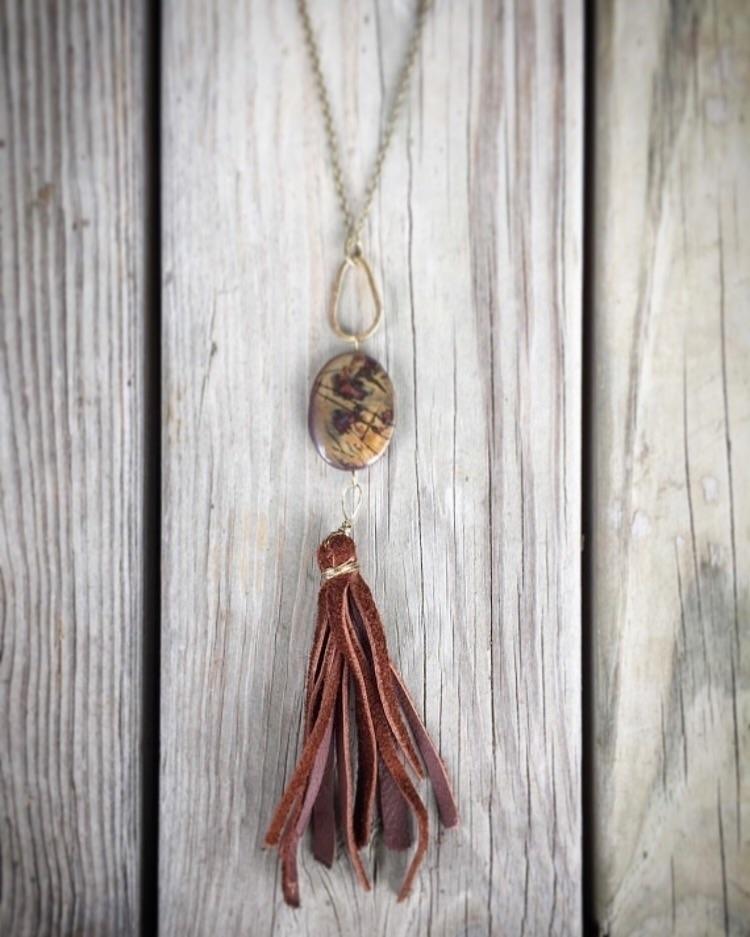 simple leather jasper necklace - therusticboheme | ello