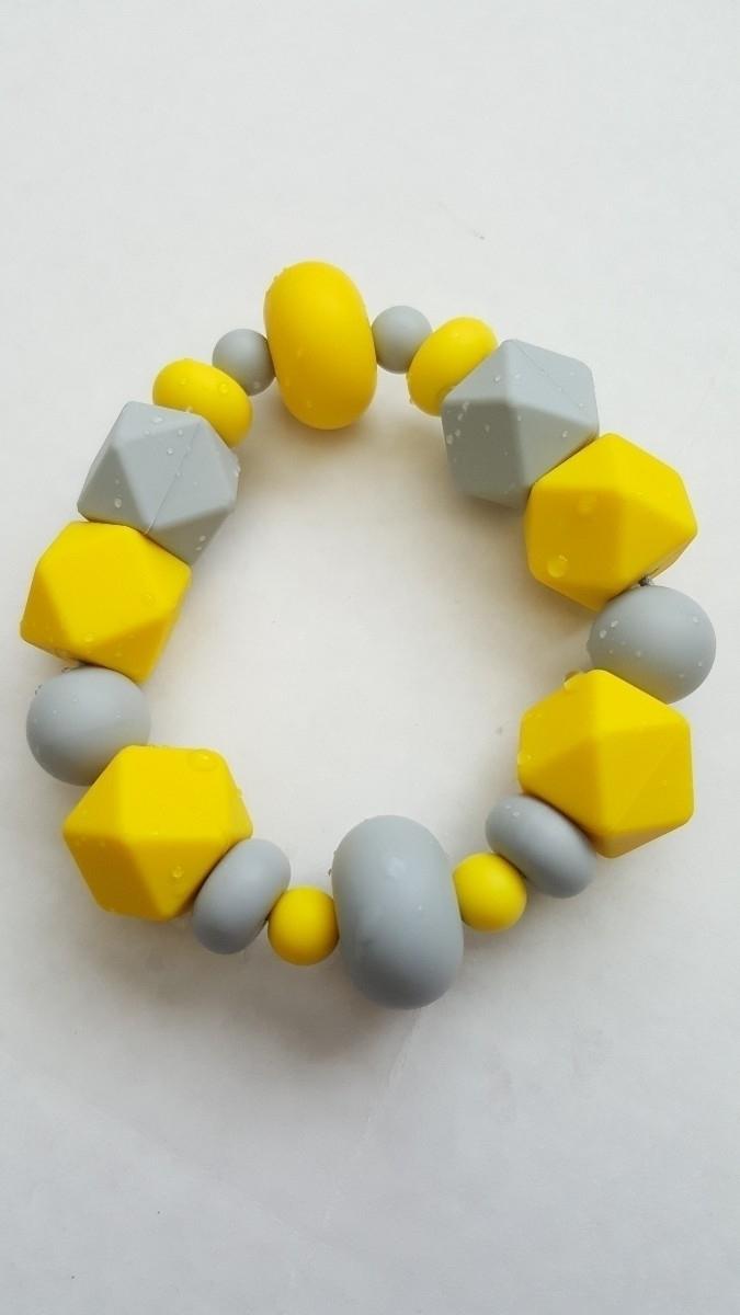 Yellow Light Gray Teething Ring - binkiesbiting | ello