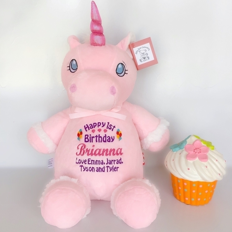 Birthday unicorn Brianna teddie - babybearembroidery | ello