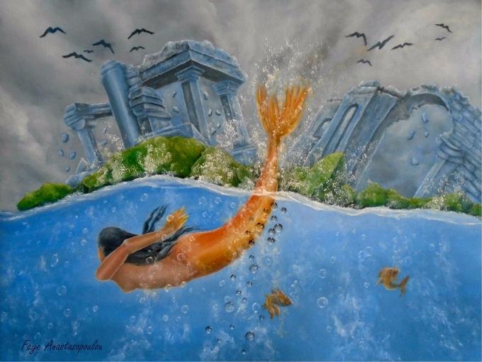 mermaid, seascape, fantasy, art - fayeanastasopoulou | ello