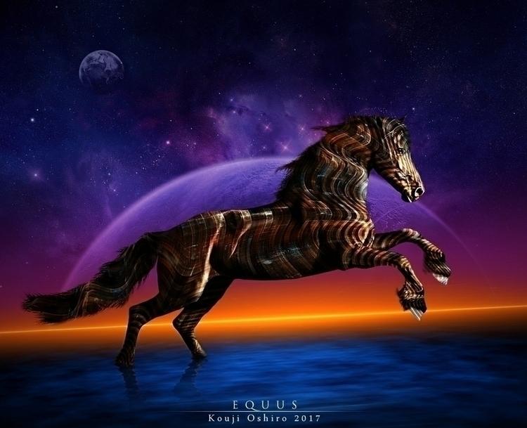 Equus - horse, cosmic, scifi, digital - koujioshiro | ello