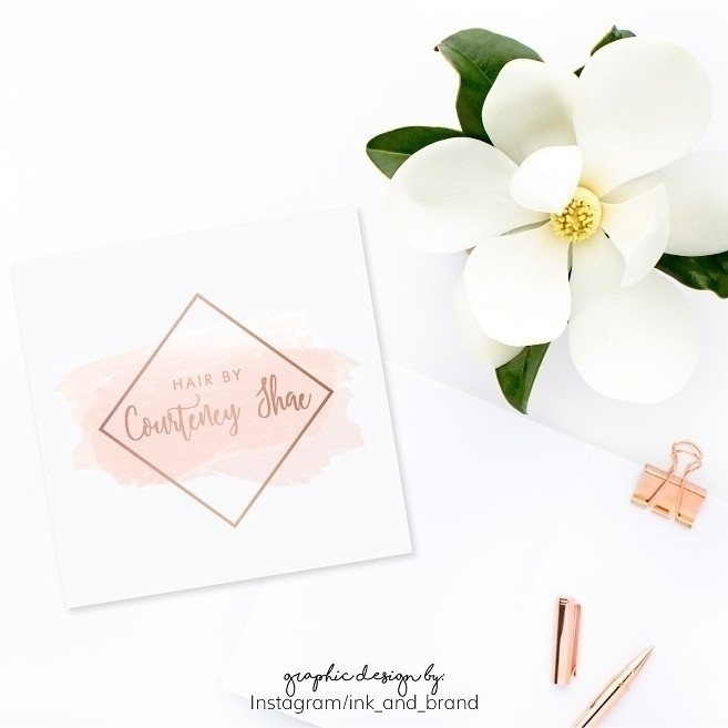 soft pink rose gold logo design - ink_and_brand | ello