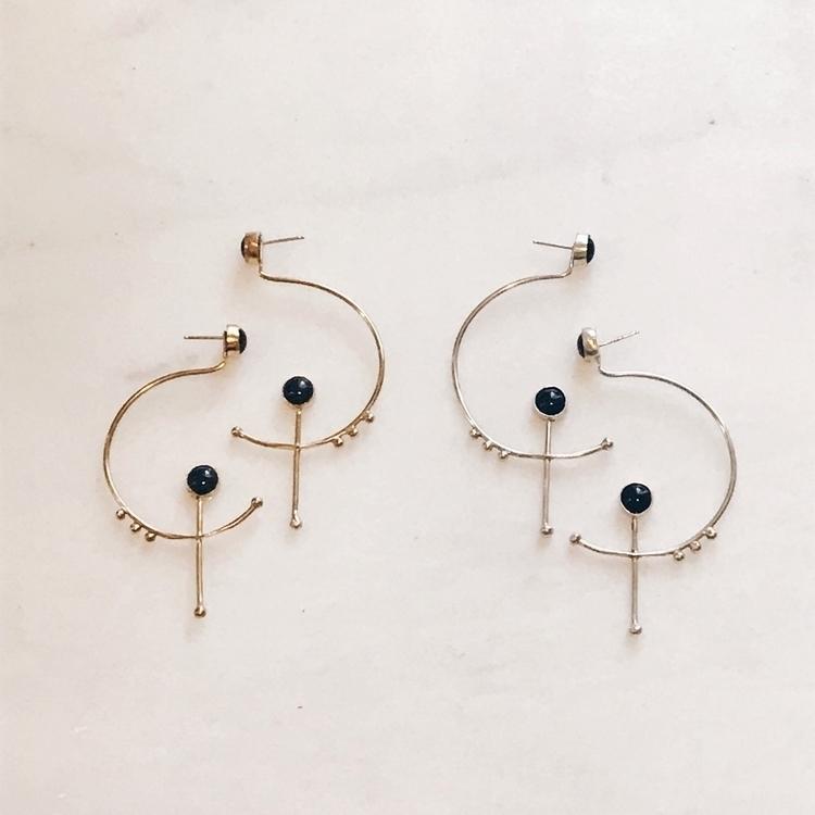 Satellite Hoops brass silver On - geoflorajewelry | ello