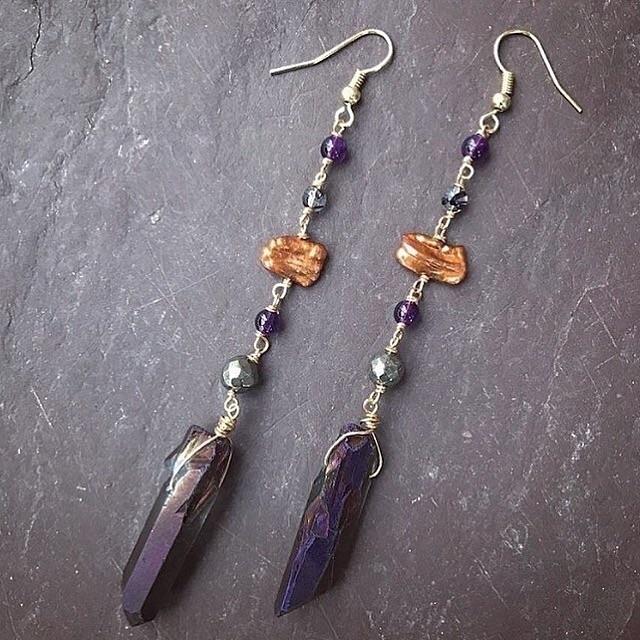 earrings ($28) :crystal_ball::z - lunacatdesigns | ello