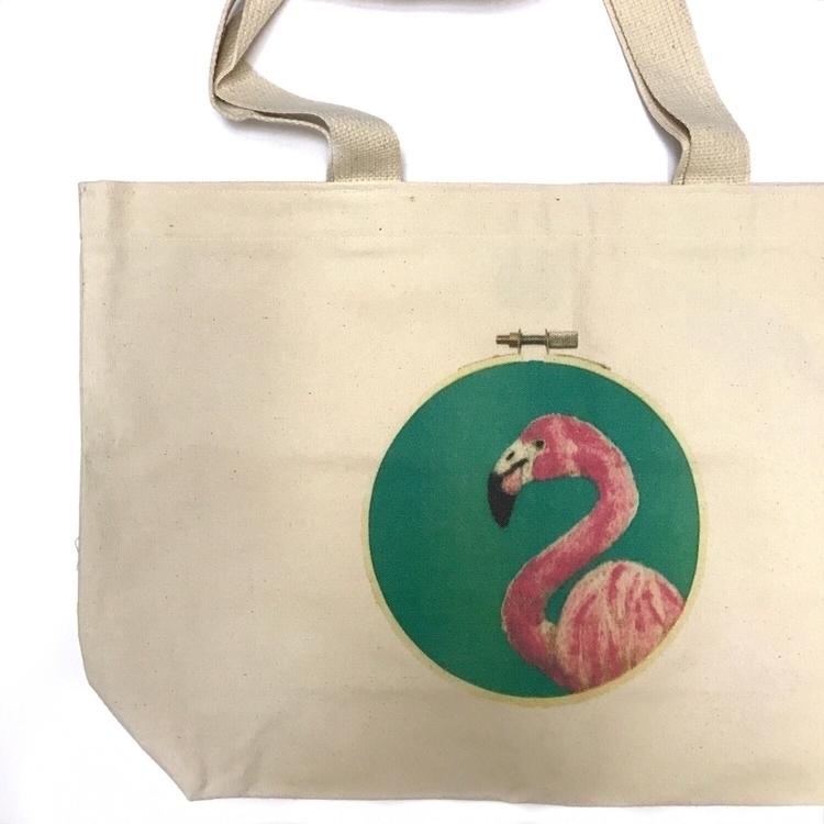 eye large flamingo hoop print t - sewnbythebeach | ello