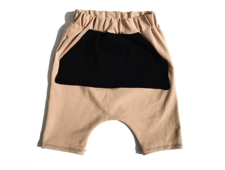 Taupe harem shorts black kangar - littleteepeedesigns | ello