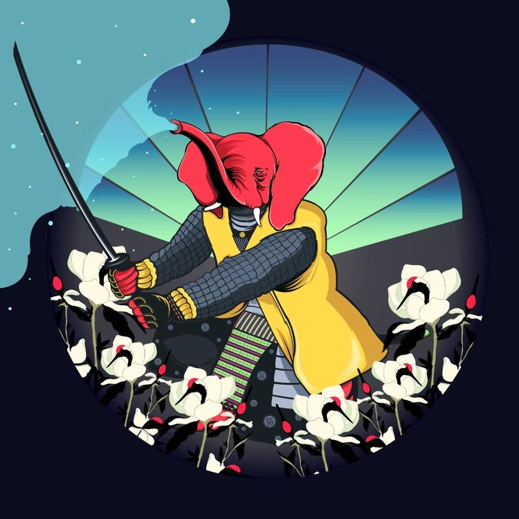 Elephant Samurai - DigitalDecadeCyberia - kzengjiang | ello