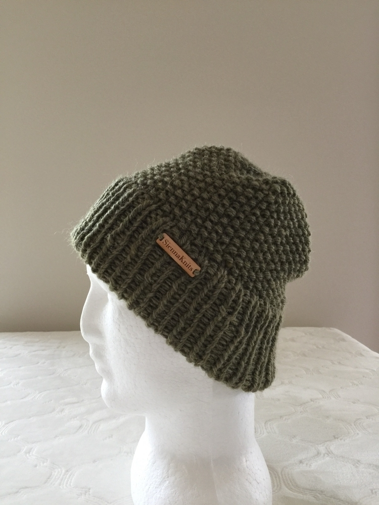Men knitted alpaca beanie, doub - siennaknits | ello
