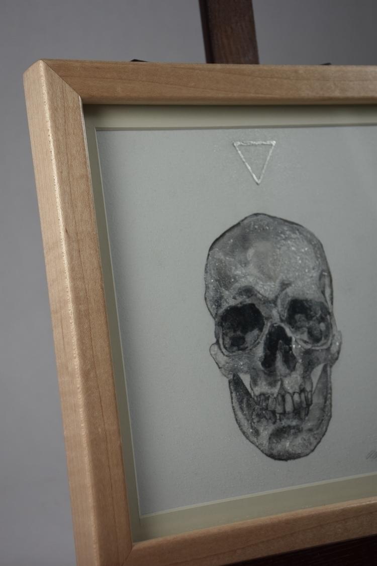 Skull ink painting salt, glass  - alexakarabin | ello