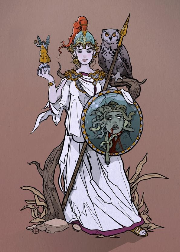 Athena - illustration, artwork, drawing - shugmonkey | ello