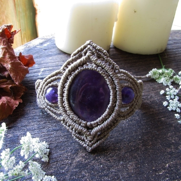 amethyst macrame bracelet etsy  - sinucreation | ello