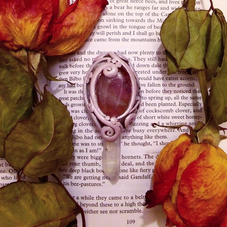 Ametrine angel aura quartz pend - hyrulian_creations | ello