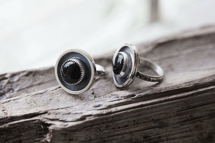 couple cute custom onyx rings w - thundermoonjewelry | ello