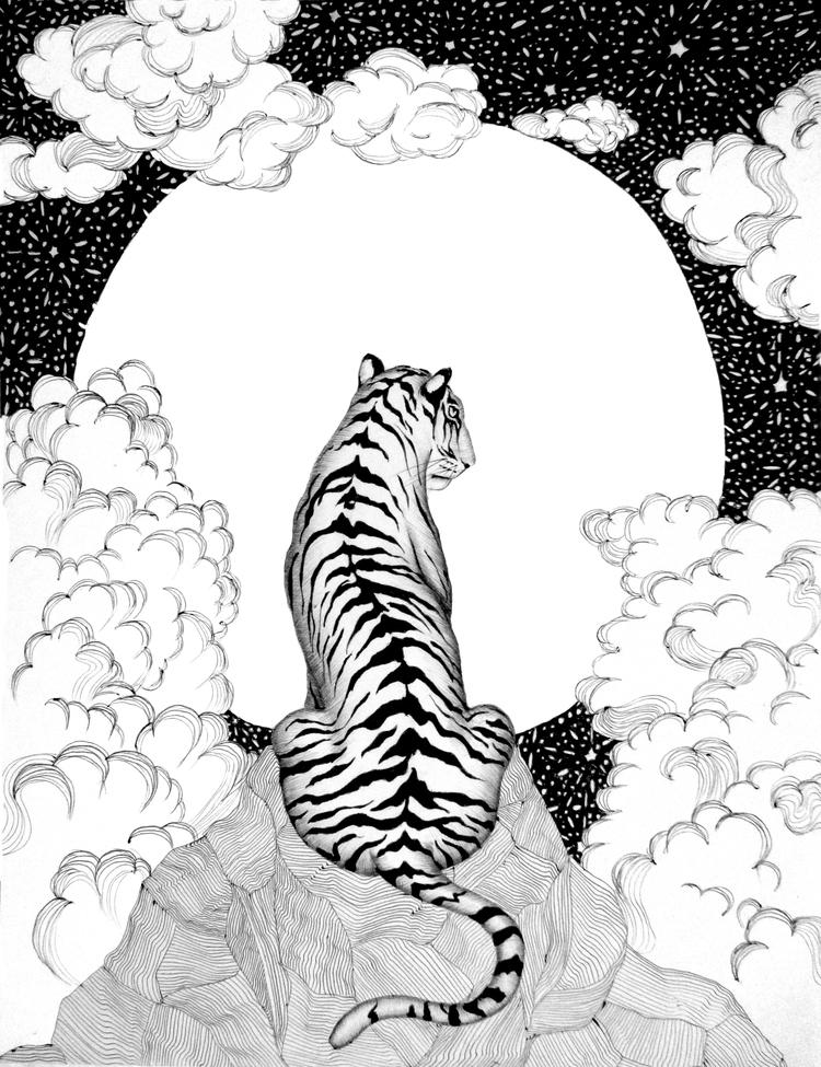 Tiger Moon. Ballpoint Pen. 2016 - ecmazurart | ello