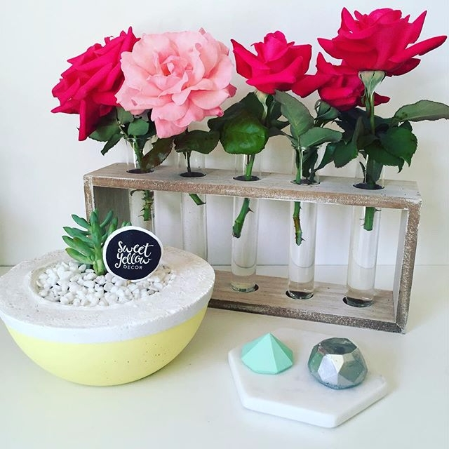 concrete planter Lemon diamonds - sweetyellowdecor | ello