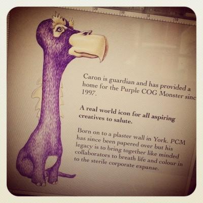 met PCM? Purple COG Monster. st - pcmcreative | ello