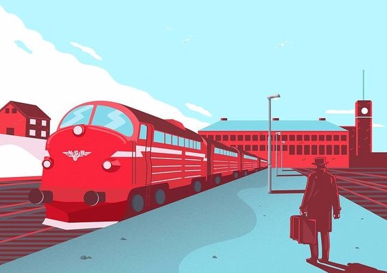 TUBE. red train. Perfect. Illus - kseniaanske | ello