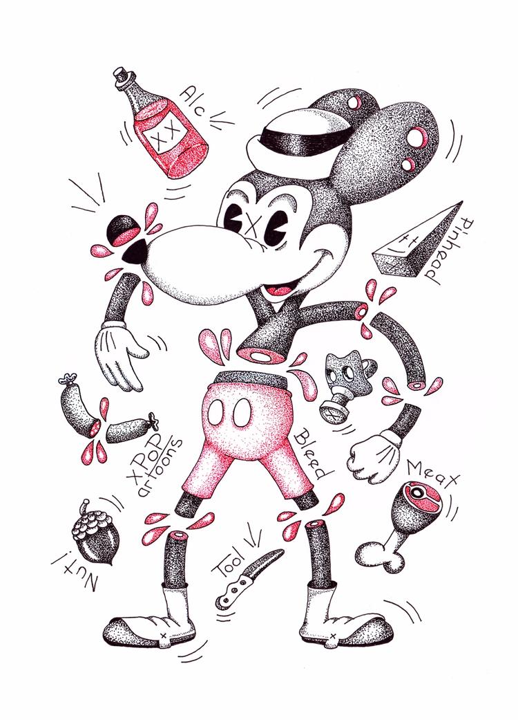 Popartoons ink drawing. .#inkdr - theodoru | ello