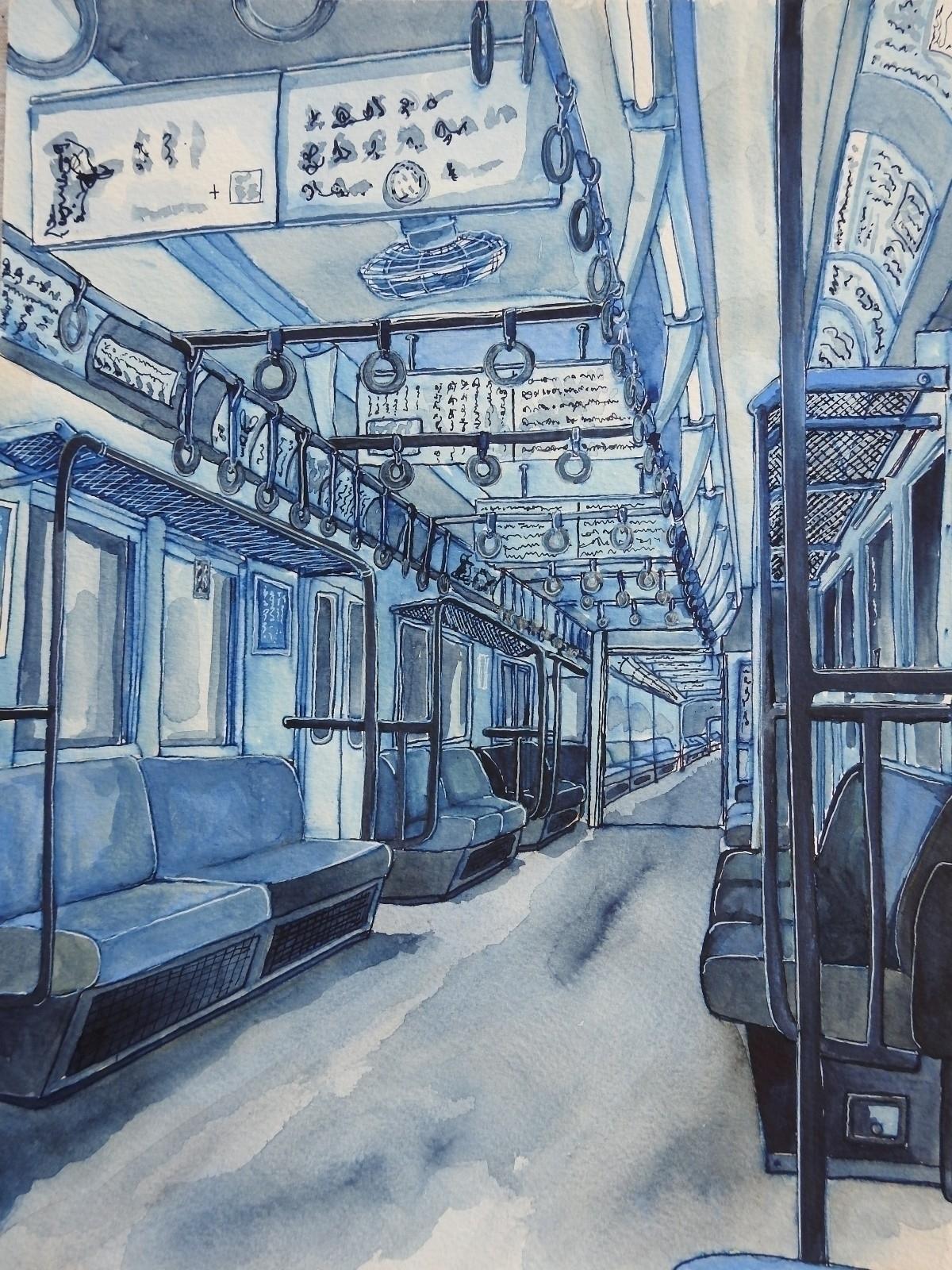 Empty train carriage, Tokyo. 20 - bluebearvendingco   ello