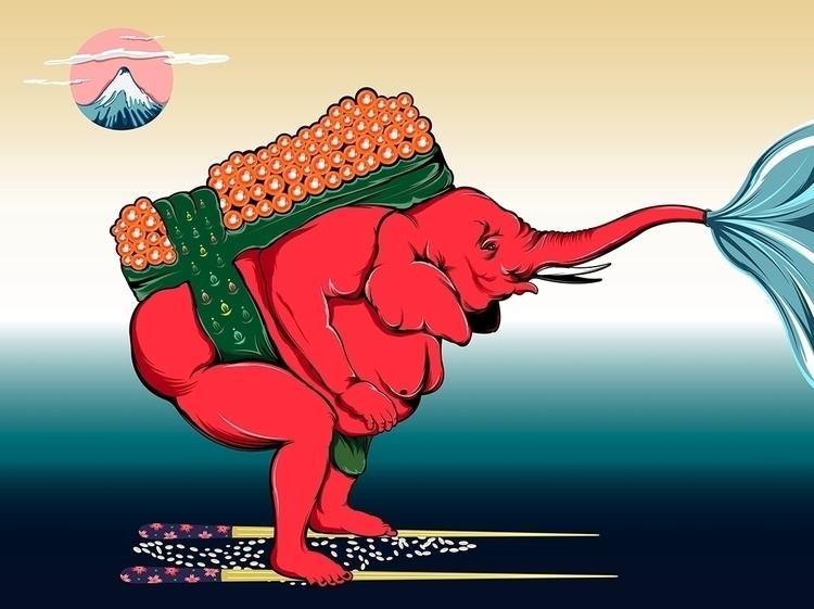 Elephant SUMO Sushi - DigitalDecadeCyberia - kzengjiang | ello