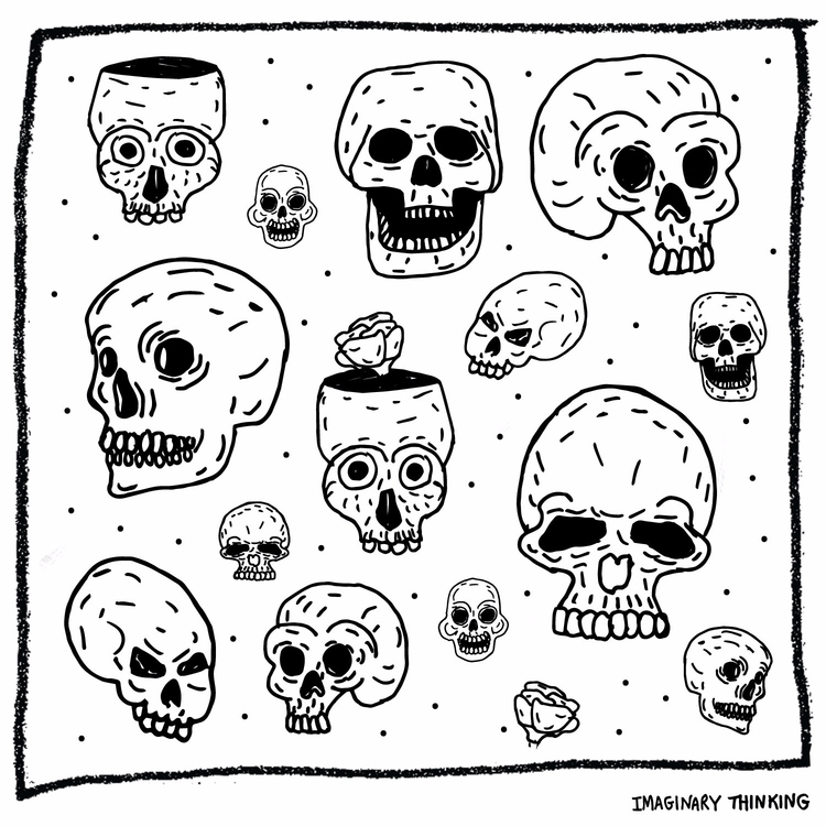 Drawing skulls. Daily drawing - 514 - imaginarythinking | ello