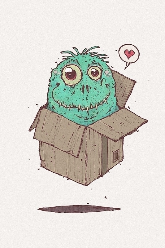 ate, illustration, art, box, monster - esze_ate | ello