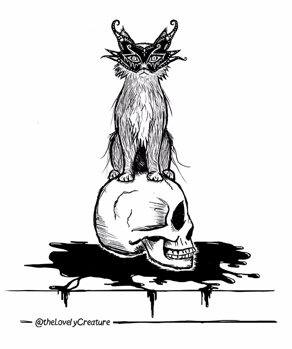 cat mask - illustration, skull, catmask - thelovelycreature | ello