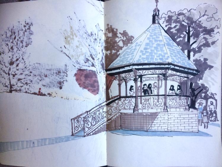 Bandstand / Hampstead Heath - alexgreendraws | ello