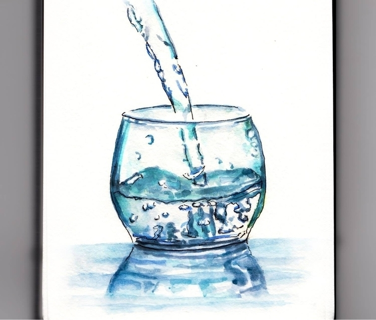 - Cold Glass Water - WorldWatercolorMonth - doodlewash | ello
