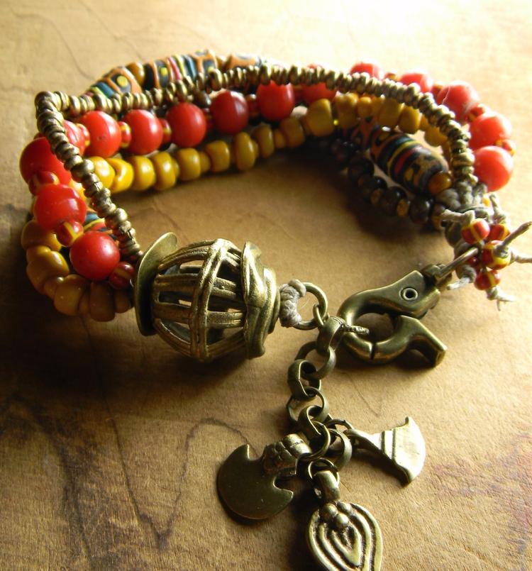 African tribal bracelet yellow  - chrysalistribaljewelry | ello