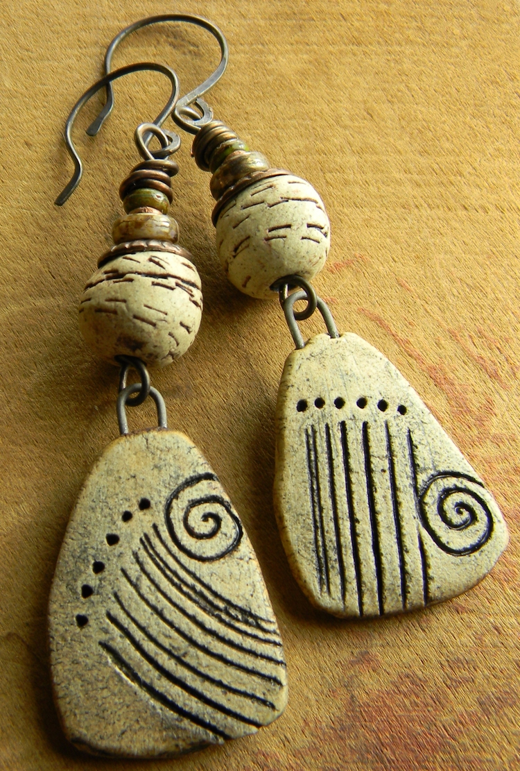 Primitive Cave Drawing Earrings - chrysalistribaljewelry | ello