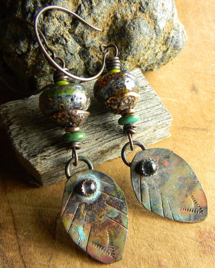 Southwest feather/leaf earrings - chrysalistribaljewelry | ello