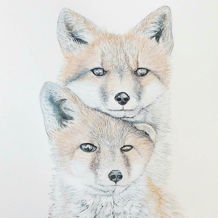 finished painting sweet foxes y - thewhimsicalwall | ello