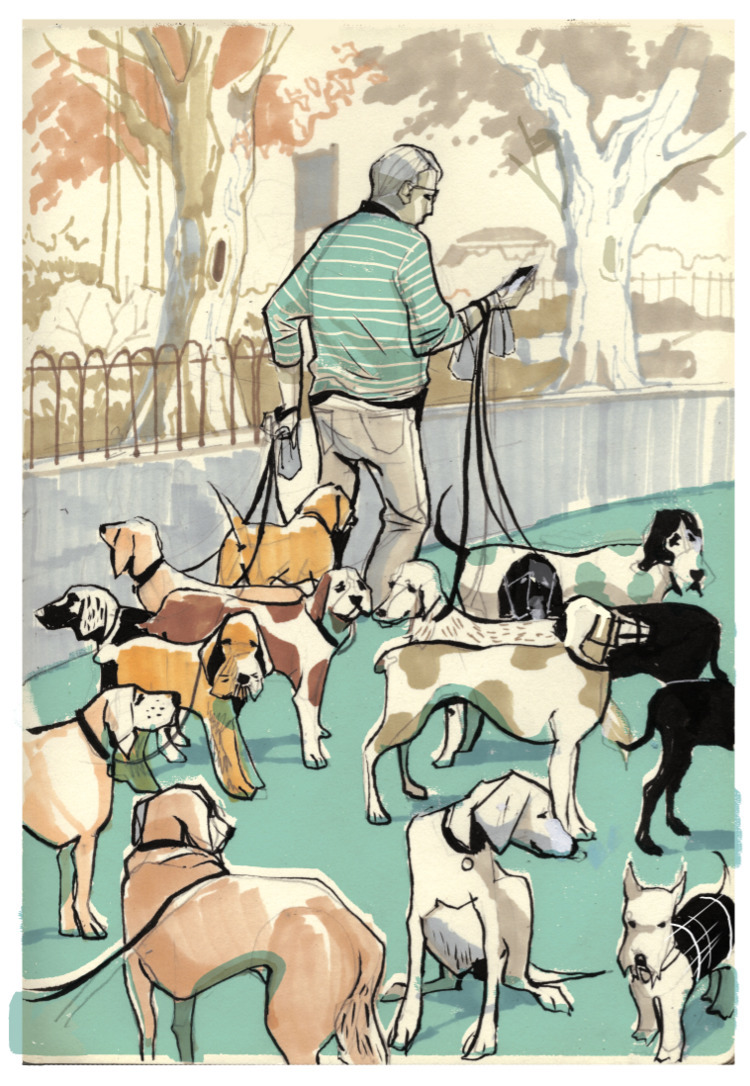 Dog Sitter - park, clissoldpark - alexgreendraws | ello