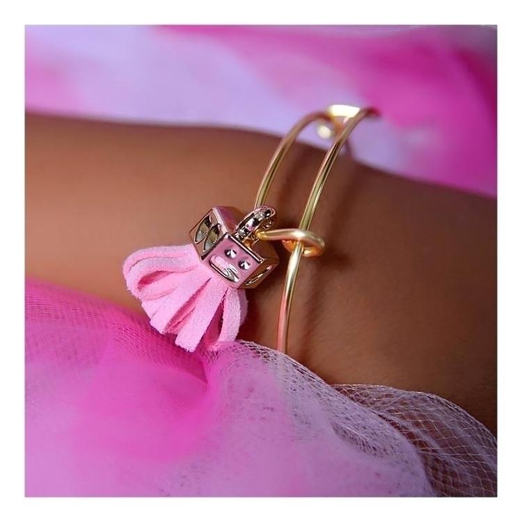 Pink Tassel Charm Bangle Bracel - pinkbutterflybella | ello