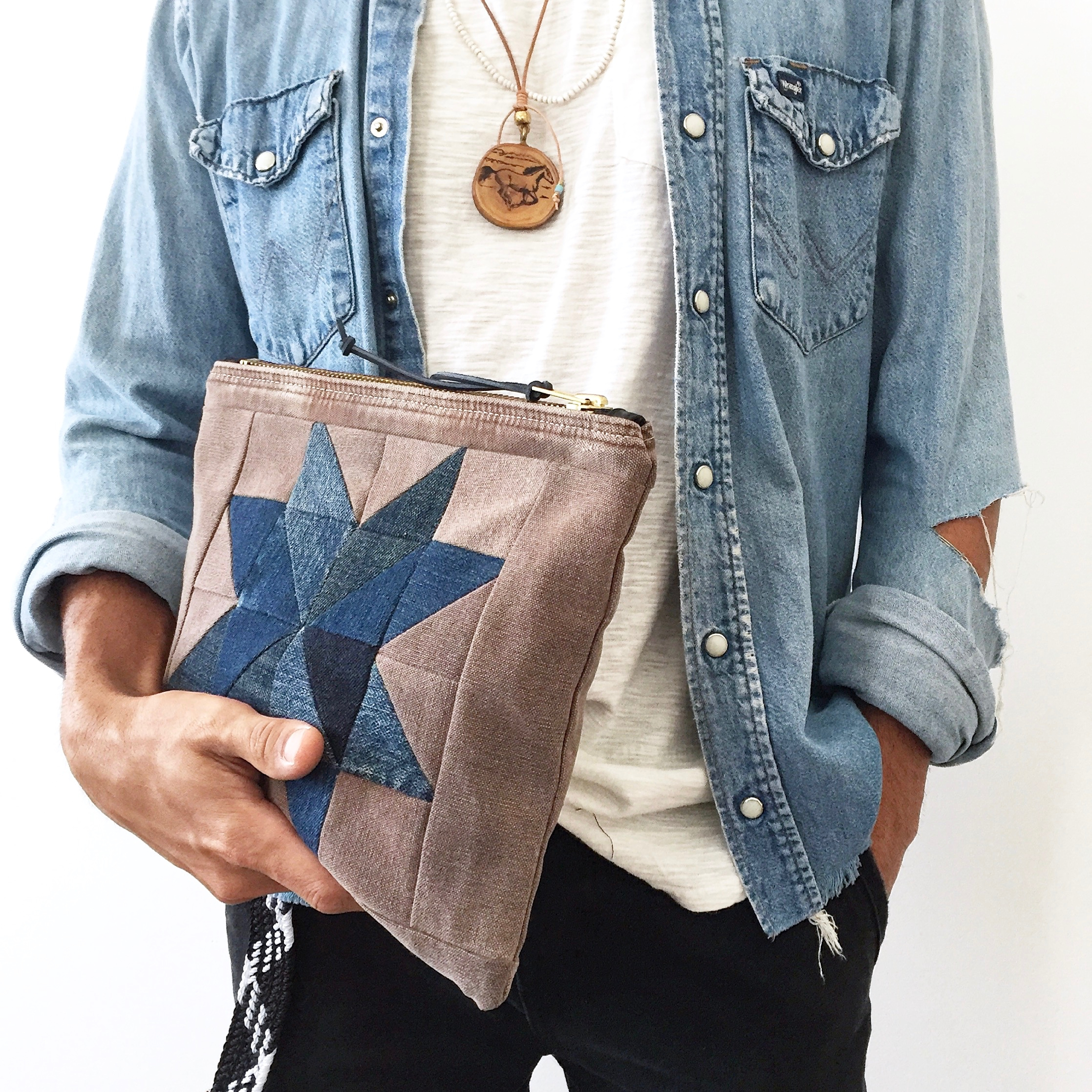 Quilted Star medium pouch denim - patrickdenanddelve | ello