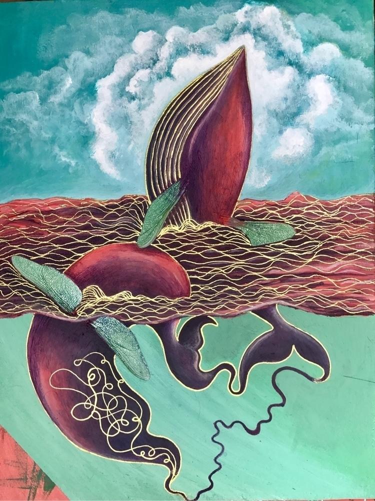 acrylic, art, whales, abstract - tammam | ello