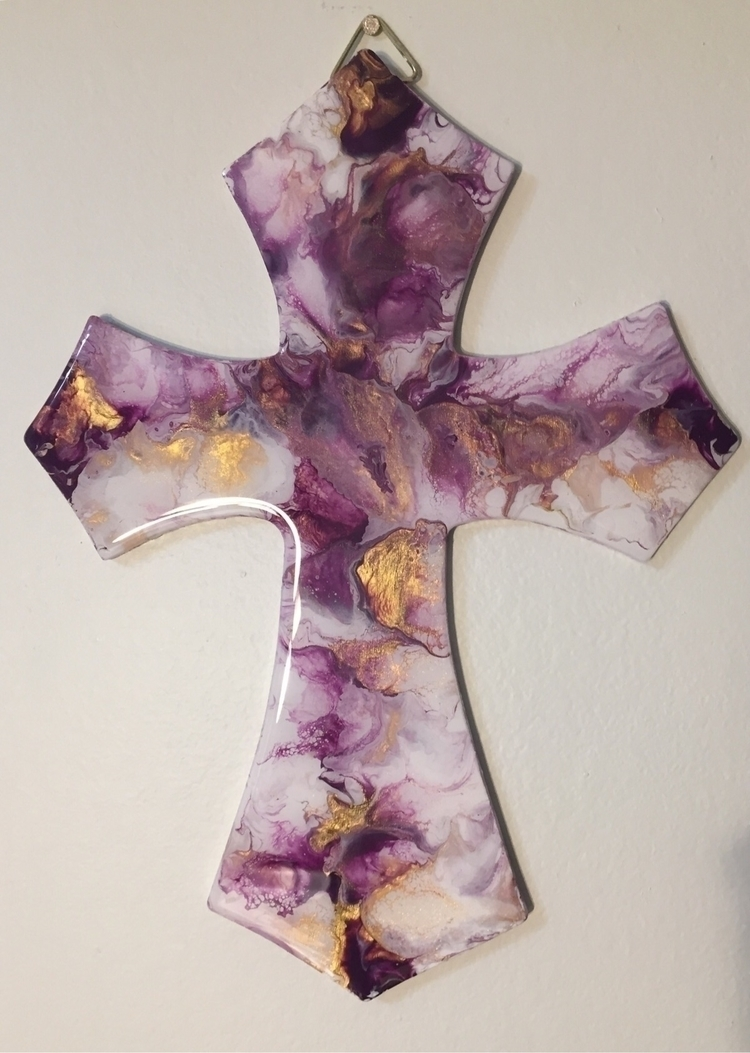 Wooden cross fluid purple gold  - creatingwithsoul | ello